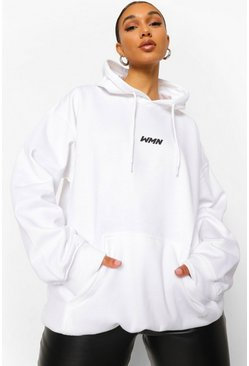 White Basic Woman Oversized Hoodie