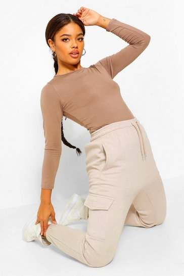 Mocha beige Beige Tie Back Detail Long Sleeve Top
