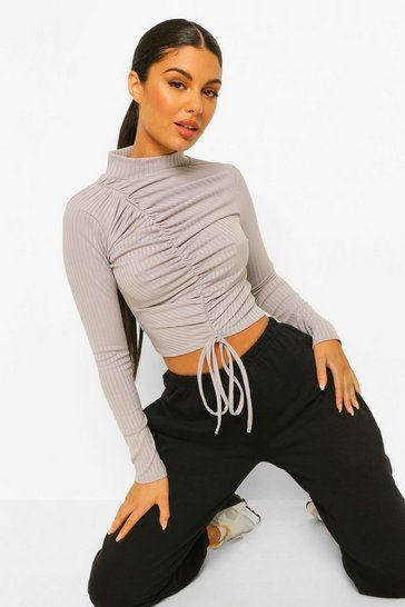 Grey marl grey Ribbed High Neck Ruched Front Top