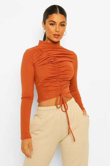 Terracotta orange Ribbed High Neck Ruched Front Top