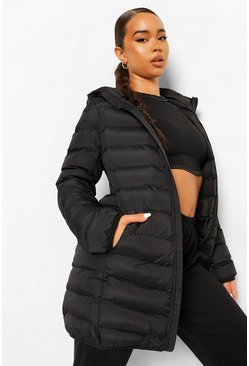 Black Hooded Longline Puffer Jacket