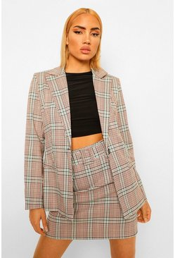Checked Button Front Oversized Blazer, Brick orange