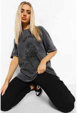 Grey Wild Rose Acid Wash Boyfriend T-shirt
