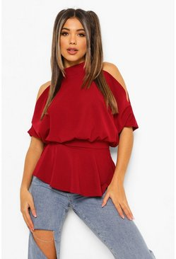 Berry red Crepe Cold Shoulder Peplum Top