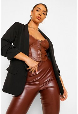 Black Ruched Sleeve Tailored Blazer