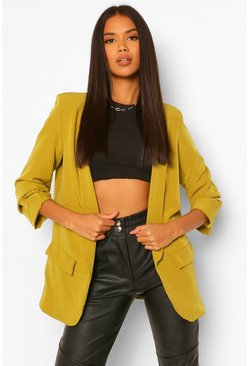 Chartreuse yellow Ruched Sleeve Tailored Blazer