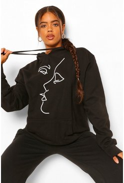 Black Face Line Drawing Oversized Hoodie