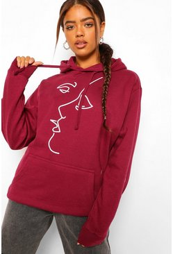 Maroon red Face Line Drawing Oversized Hoody