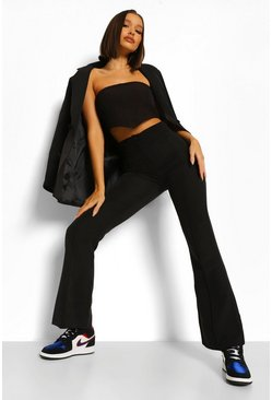 Black Tailored Fit And Flare Trousers