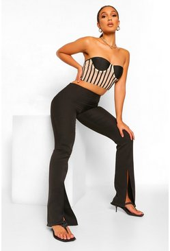 Black Front Split Long Line Skinny Trouser