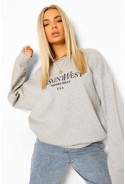Grey marl grey Ye Saint West Slogan Oversized Sweatshirt