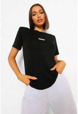 Black Basic Woman Shoulder Pad T-shirt