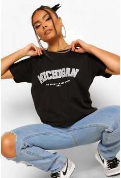 Black Michigan Slogan T-shirt