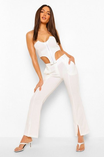 Ivory white Split Front Tailored Skinny Trousers