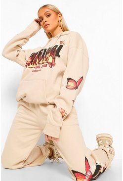 Stone Oversize Flame And Butterfly Print Hoodie