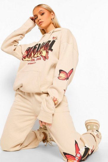 Stone beige Oversize Flame And Butterfly Print Hoodie