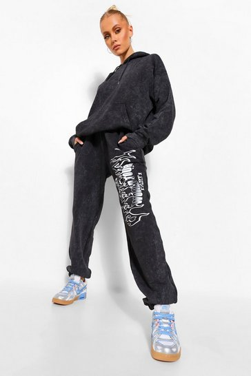 Charcoal grey Acid Wash 1993 Band Print Oversized Joggers