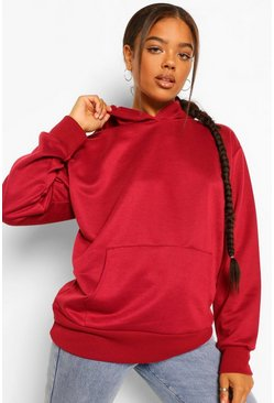 Berry red Basic Oversized Hoodie