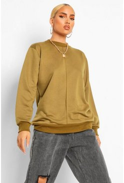 Seam Detail Crew Neck Oversized Sweatshirt, Khaki kaki
