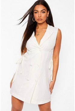 Lace Up Cut Out Side Tailored Blazer Dress, Ivory weiß