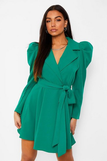 Emerald green Ruched Sleeve Tailored Blazer Dress