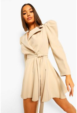 Sand Ruched Sleeve Tailored Blazer Dress
