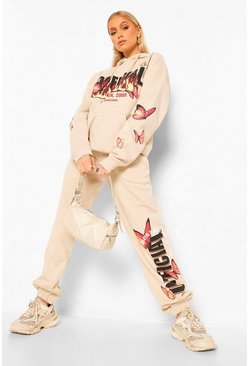 Oversized Flame And Butterfly Print Joggers  , Stone beige