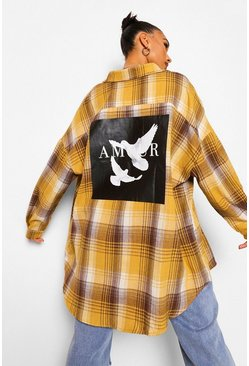 Mustard yellow Amour Doves Back Print Check Boyfriend Shirt