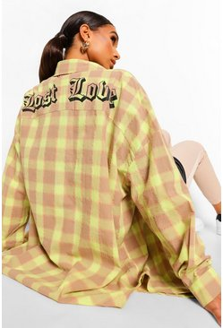 Lime Lost Love Back Print Checked Shirt