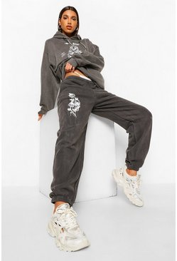 Charcoal grey Skull Rose Acid Wash Boyfriend Jogger