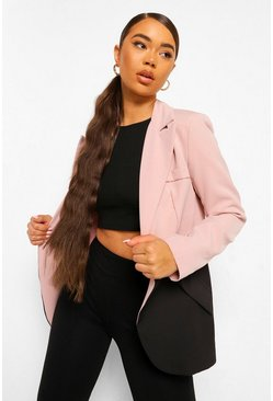 Contour Tailored Button Front Blazer, Blush rosa