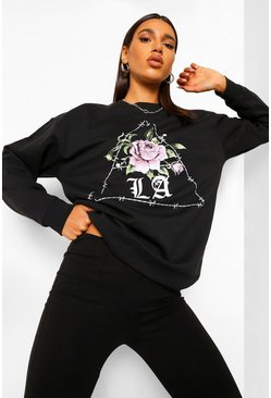 Black La Rose Barbed Wire Boyfriend Sweatshirt