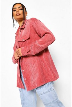 Pink Cord Oversized Shirt