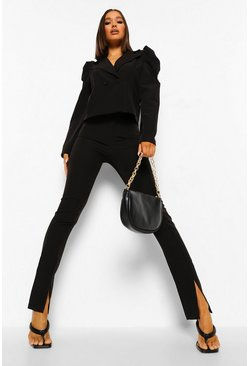 Black Split Front Tailored Trousers