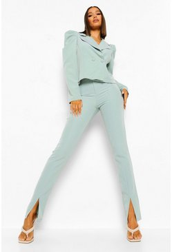 Sage Split Front Tailored Trousers