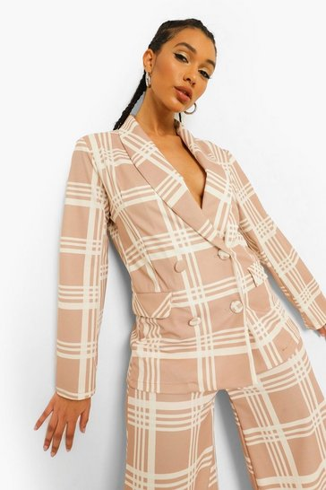 Check Oversized Blazer & Super Wide Leg Suit Set