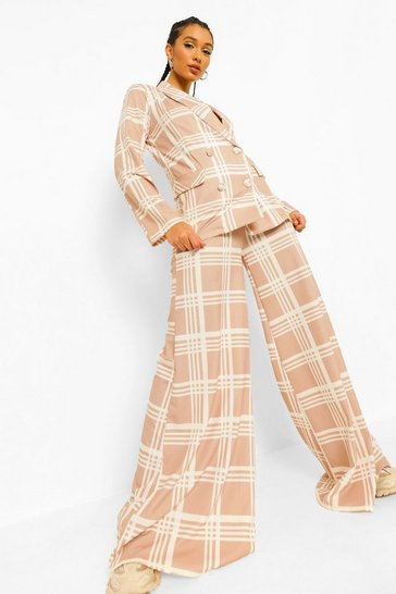 Caramel beige Tonal Check Slouchy Super Wide Leg Trousers