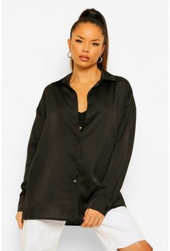 Black Oversized Satin Shirt