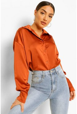Oversized Satin Shirt, Rust arancio
