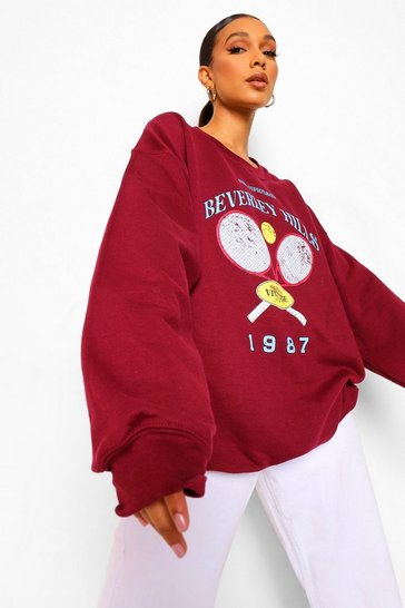 Maroon red Beverley Hills Tennis Graphic Sweater