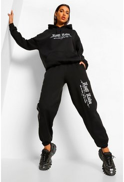Black Lost Love Barbed Wire Boyfriend Joggers