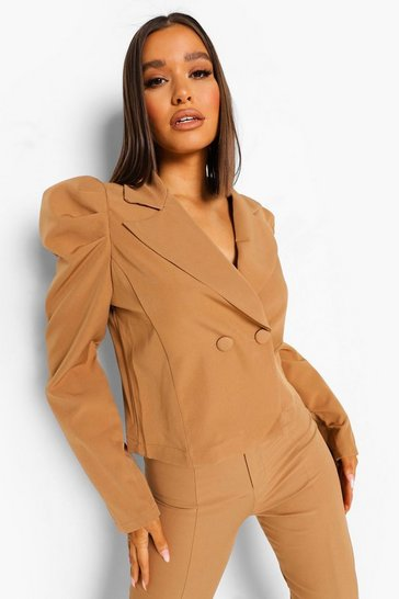 Ruched Sleeve Blazer & Trouser Suit Set