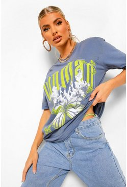 Indigo blue Woman Graphic Print Washed Oversized T-shirt