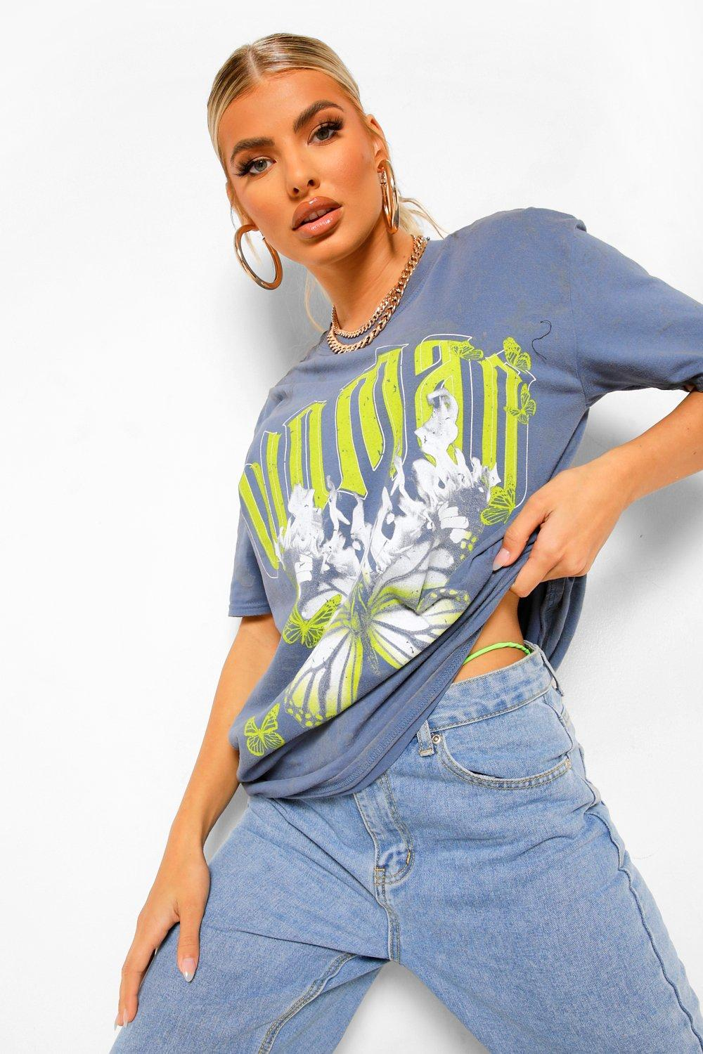 Woman Graphic Print Washed Oversized T-shirt | boohoo