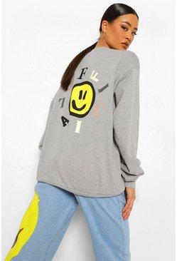 Bright yellow yellow Oversized Back Print Sweatshirt