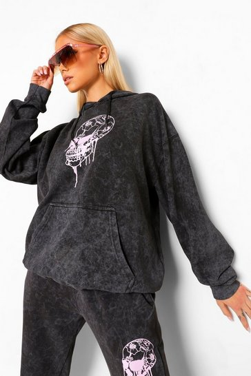 Charcoal grey Skull Drip Acid Wash Boyfriend Hoodie