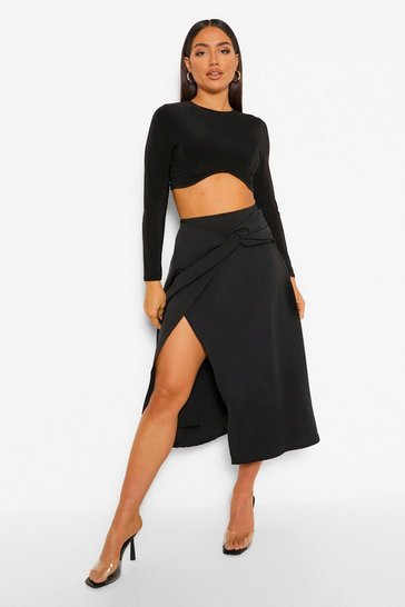 Black Twist Knot Draped Midi Skirt