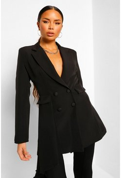 Black Drape Side Double Breasted Longline Blazer