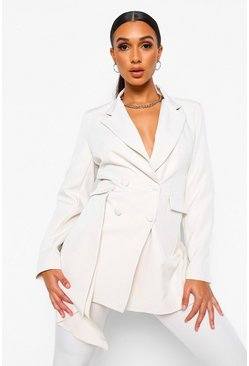 Ivory white Drape Side Double Breasted Longline Blazer