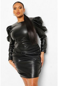 Black Plus Leather Look Puff Shoulder Ruched Dress